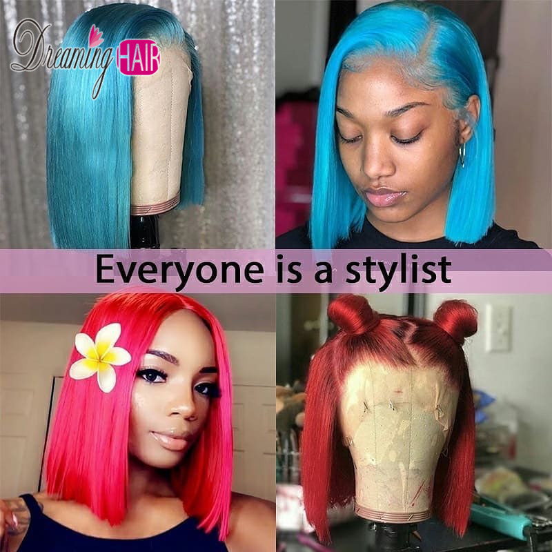 150 Colorful 613 Blonde Lace Front Human Hair Wig Brazilian Pink Grey Short Bob wig 150% Colorful 613 Blonde Lace Front Human Hair Wig Brazilian Pink Grey Short Bob wig 13x6 Transparent Lace Wigs For Black Woman