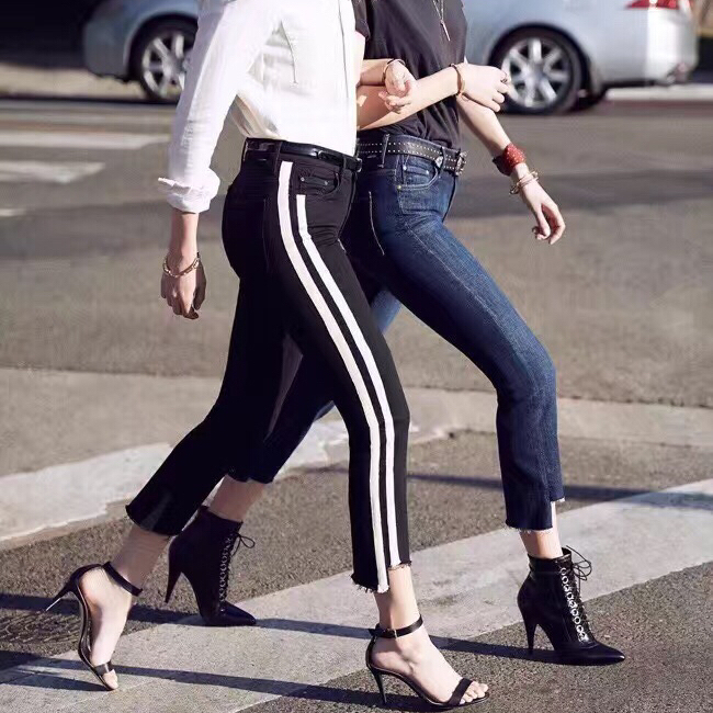 2017 spring new women high waist ankle-length pants jeans 2 color