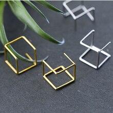 Pendientes de plata 925 cuadrados Brincos joyería Vintage oro Pendientes minimalismo encanto fiesta regalo Pendientes para mujeres Oorbellen