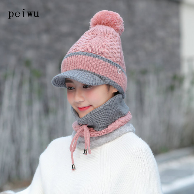 1c63e72c2b5 HUAYAN Winter Hats and Scarf Set For Women Knitted Beanies Peaked Cap  Female Collar Plus Velvet Winter Cap