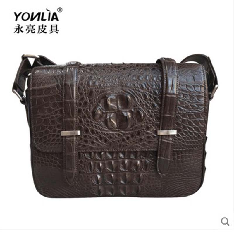 yongliang New natural Alligator Leather Men's casual men handbag crocodile  leather single shoulder oblique shouldered men's bag yongliang 2017 new crocodile leather belly single shoulder men handbag crocodile leather crossbody fashion all match men bag