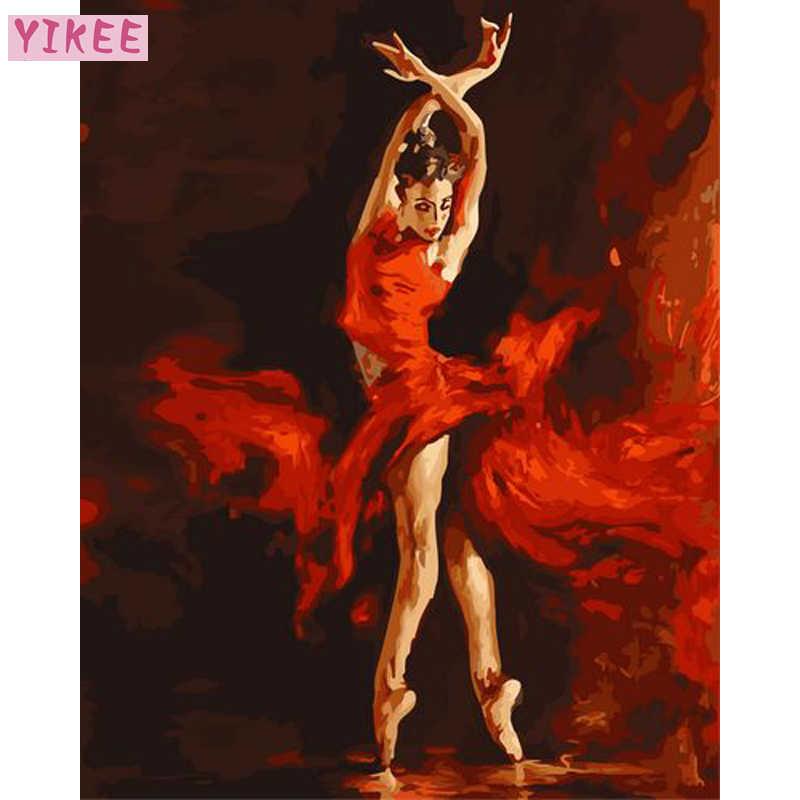 Краска для взрослых по номерам, рисунок «сделай сам» цифры, балерина, масляная краска по номеру балетная танцовщица