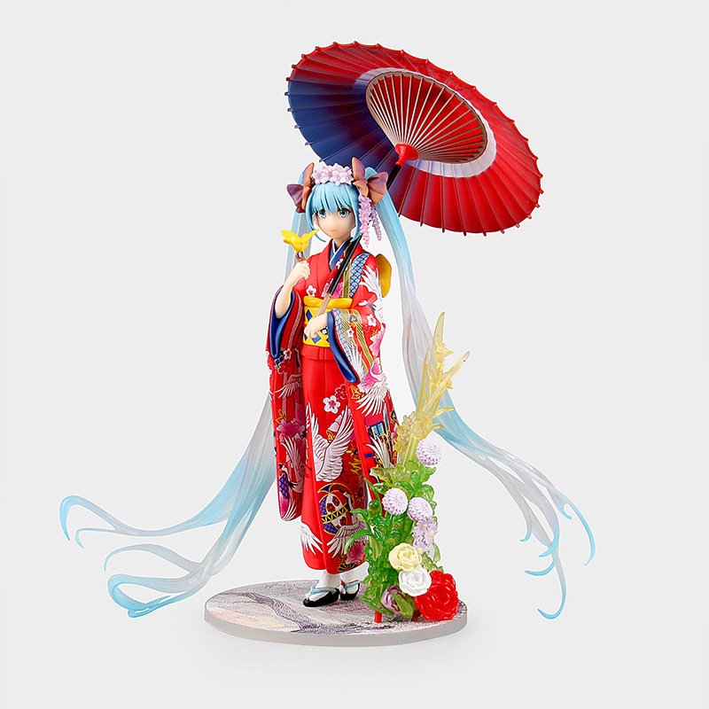 Birthday Toy Gift Hatsune Miku Action Figure Collection 2016 New Style 25cm Stronger VOCALOID KAITO Miku Umbrella Kimono Model vocaloid 3 hatsune miku kaito cosplay shoes anime boots