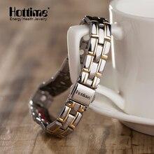 Hottime Новый Дизайн Титан роскошный браслет с матча регулятор для Для женщин человек mangetic Био Элементов Энергии Браслеты Для мужчин