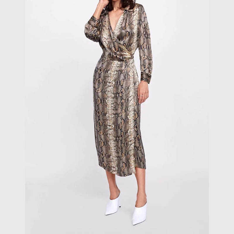 JXYSY sexy dress women vestidos mujer 2018 england urban serpentine printing v-neck party maxi dress women 2 pieces set top