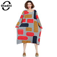 Oladivi Plus Size Clothing Brand New Fashion Women Casual Loose Dress Lady Velvet Long Dresses Vestidos