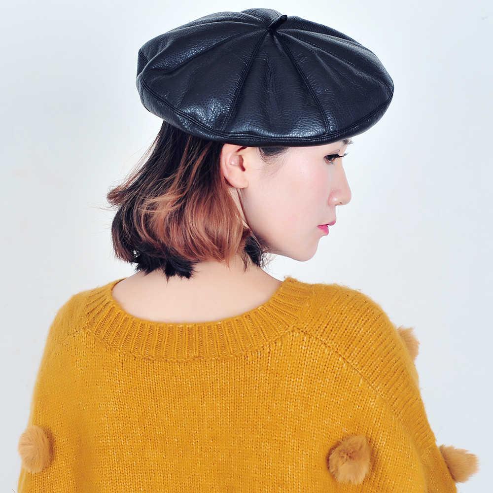 JOEJERRY черный кожаный берет Женская французская шляпа берет розовые береты шапки для женщин и мужчин маляр шляпа