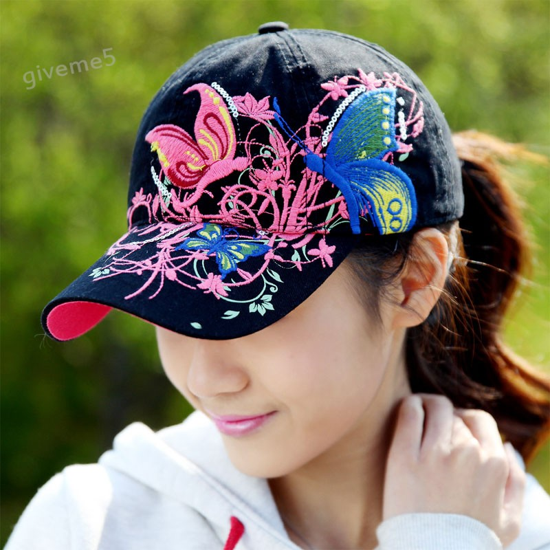 New Discount 2015 Spring Summer Butterflies Flowers Embroidery Baseball Caps Fashion Baseball Hats For Women B16