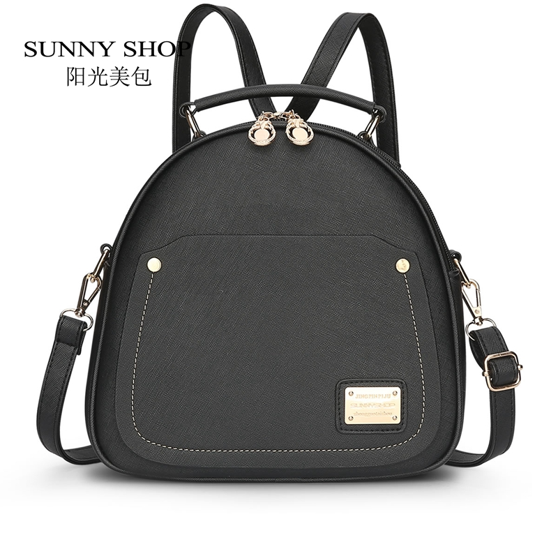 SUNNY SHOP PU Leather Daypack Candy Color Cute Women Backpacks School Bags For Backpacks For Teenage Girls Bagpack