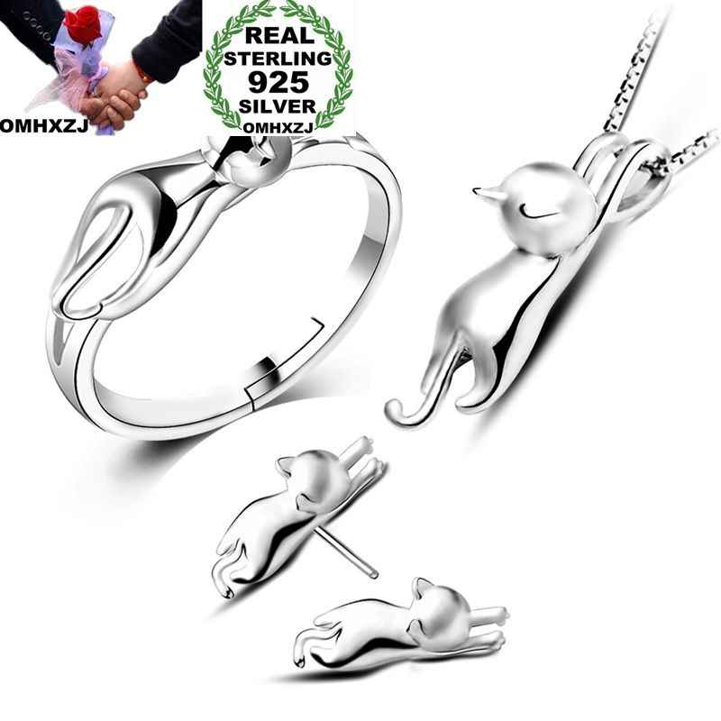 OMHXZJ Wholesale Personality Fashion OL Woman Girl Silver Cat 925 Sterling Silver Stud Earrings+Ring+Necklace Jewelry Set SE22