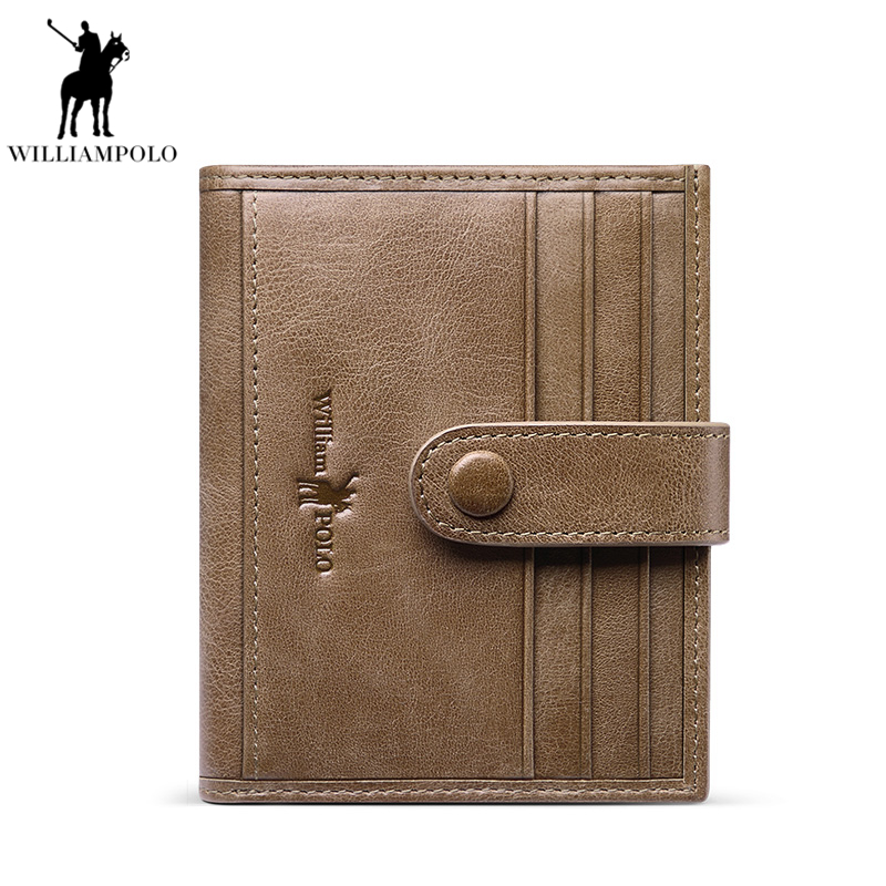 WILLIAMPOLO 2019 Genuine Leather Small Wallet Slim Purse Short Vintage Hasp mini Wallet Men Card Holder  PL185168