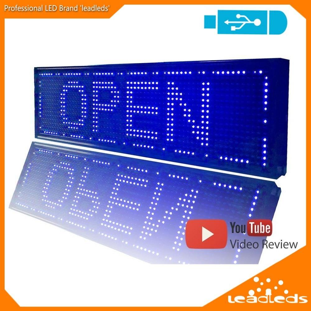 26 4x7 5 inchesblue display led usb programavel scrolling movendo editar mensagem placa do sinal levou