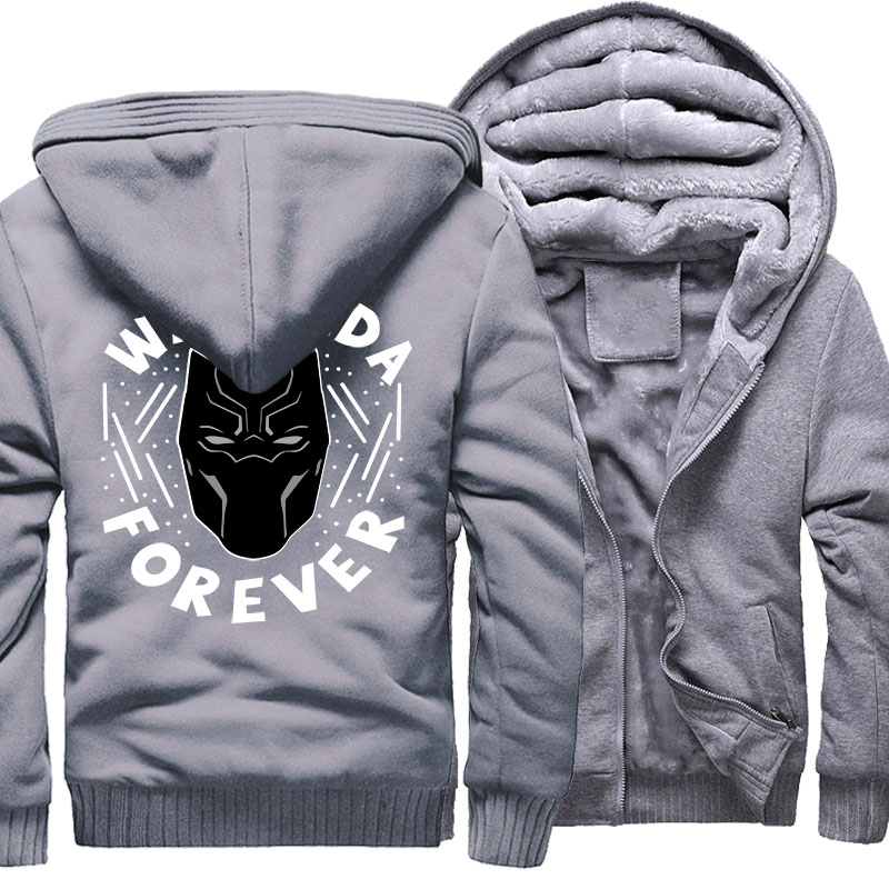 Men's Hoodies Black Panther Hip Hop Jacket 2018 Autumn Winter Zipper Thick Sweatshirt For Men WAKANDA FOREVER Punk Jackets Hoody