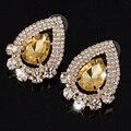 Trendy New Gold Plated Water Drop Crystal Earrings Women Created Gem Stone Large Rhinestone Big Statement Earrings Jewelry 2016
