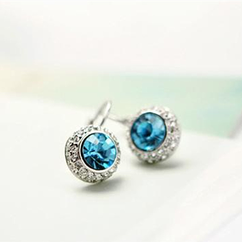 New 2014 White Gold Color Austrian Crystal Korean Fashion Jewelry Round Moon River Drop Earrings For Women Free Shipping E00573