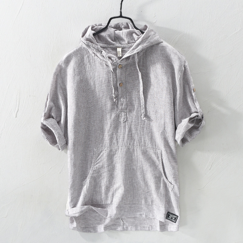 Titmsny 2018 Summer Striped Hooded Shirts for Men Cotton Linen Casual Shirt Half New Sleeve Soft Shirts Men Clothing M-2XL