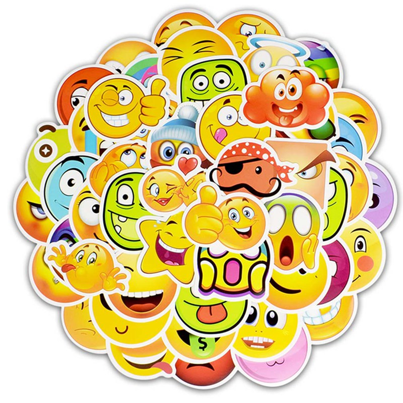 2019 New Style 50pcs Funny Emoji Stickers Toys For Kids Cartoon Emoticon Smile Face Decor Stickers Skateboard Laptop Suitcase Scrapbook Gifts Quality And Quantity Assured