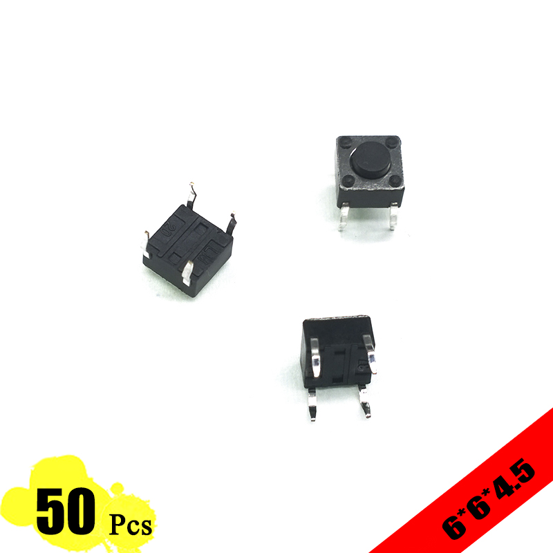 50pcs/lot 6*6*4.5 mm Interruptor 4 PIN Tactile Tact Push Button switch Micro Switch Direct Plug-in Self-reset Top Copper DIP 50pcs 6x6x4 3mm tactile push button switch 4 pins micro switch 4 pin dip momentary touch switch