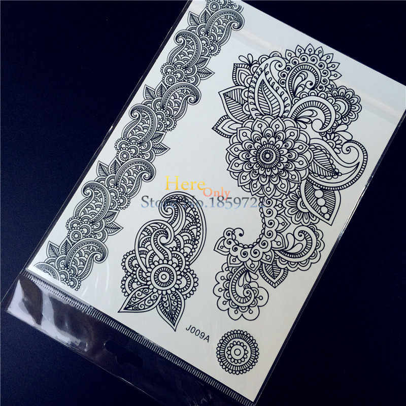 1PC Summer Style Nontoxic Black Women Henna Temporary Tattoo Lace Flower Bracelet Waterproof Arm Hand Fake Tattoo Sticker HBJ09A