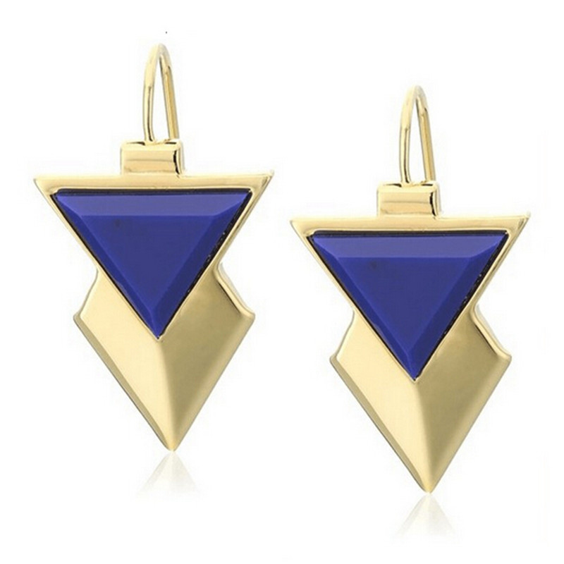 wing yuk tak Fashion Hot Sales New Designer Gold Color Blue Acrylic Stud Earrings For Women Factory wholesale