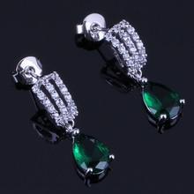 Stylish Water Drop Green Cubic Zirconia White CZ 925 Sterling Silver Drop Dangle Earrings For Women V0374 pair of stylish faux opal water drop earrings for women