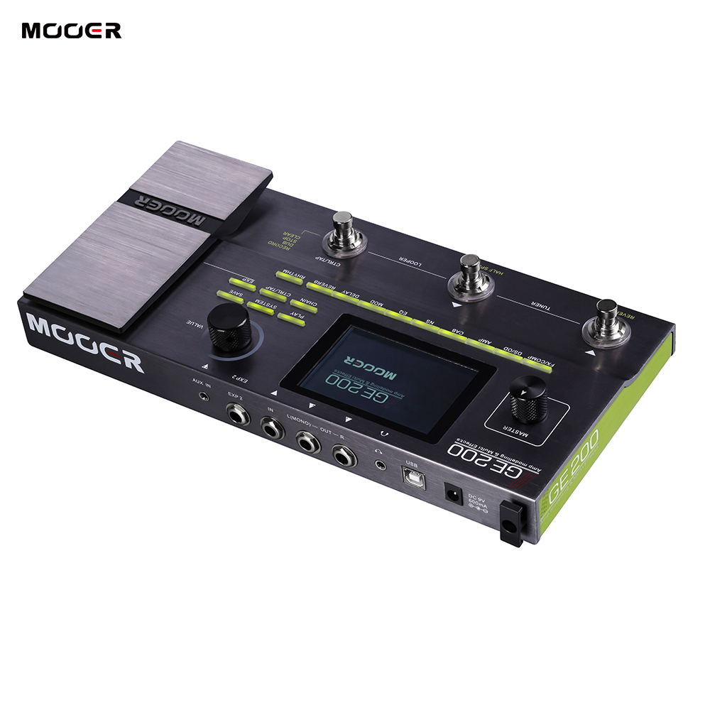 MOOER GE200 Amp Modelling Multi Effects Pedal 55 Amplifier 26 Speaker Cab 70 Effects 52s Looper