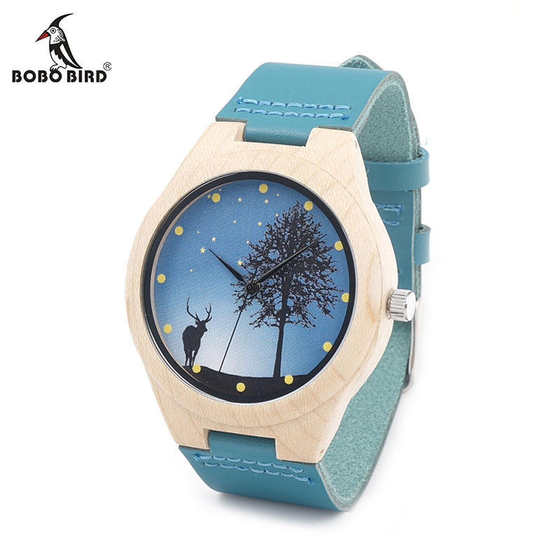 BOBO BIRD V-F19 Mens Maple Wooden Watch Deer Dial Design Japan Movement Quartz Wristwatch with Leather Bnad in Gift Box horloge bobo bird f08 mens ebony wood watch japan movement 2035 quartz wristwatch with leather strap in gift box free shipping
