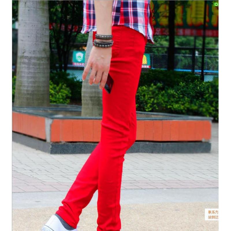 Sıcak Stil 2019 Moda Rahat Erkek Katı Kırmızı Manşet Bacak - Erkek Giyim - Fotoğraf 3