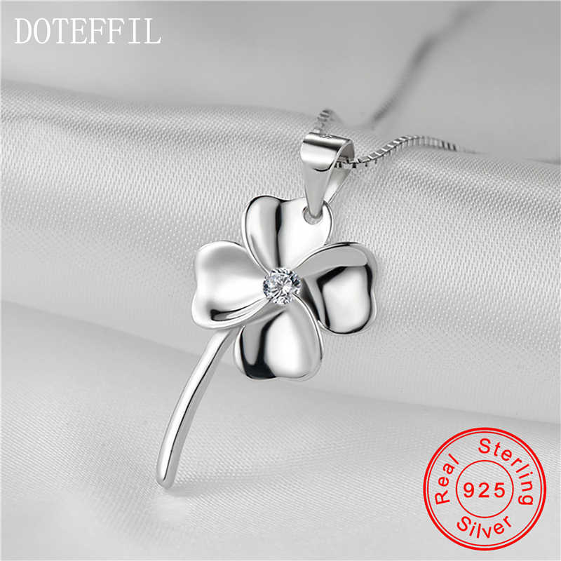 Clover Charm 925 Sterling Silver Pendant Necklace Woman Fashion AAA Zircon 100% Silver Box Chain Necklace Jewelry