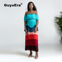 GuyuEra New European and American Women's African Rainbow Skirt With Wrapped Chest Top Large Swing Dress Set L XXL
