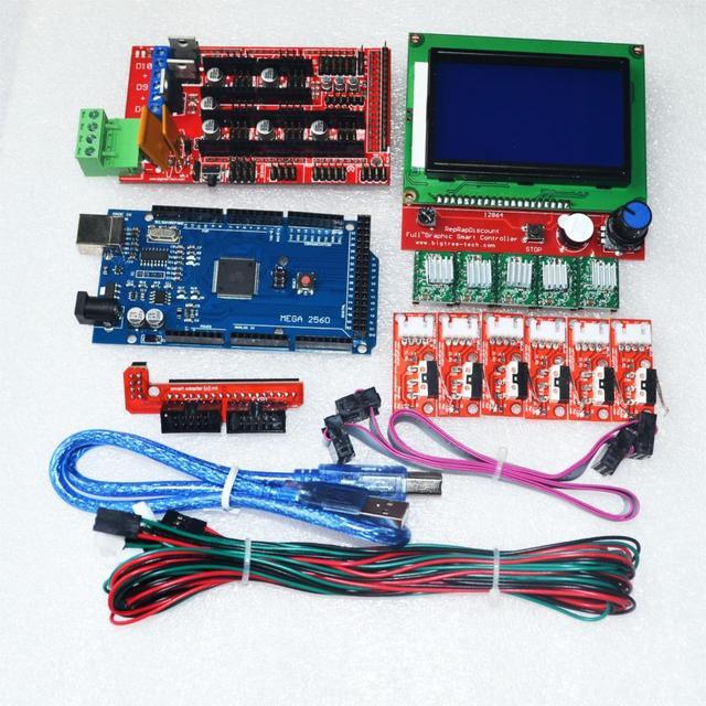 CNC Kit Impressora 3D para Arduino Mega 2560 R3 + RAMPS 1.4 Controlador LCD + 12864 + 6 Interruptor de Limite de Fim De Curso + 5 A4988 Motorista Stepper