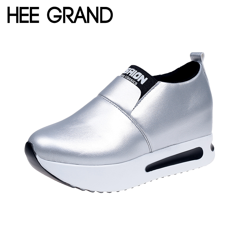 HEE GRAND Vintage 2018 Comfort Shoes Woman Spring Silver Loafer Platform Creepers Solid Slip On Casual Women Flats Shoes XWD6258 hee grand flowers creepers pearl glitter flats shoes woman pink loafers comfort slip on casual women shoes size 35 43 xwc1112