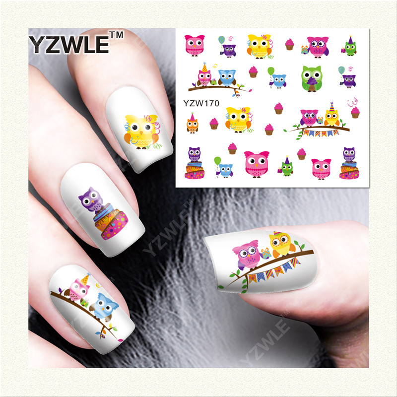 YZWLE  1 Sheet DIY Designer Water Transfer Nails Art Sticker / Nail Water Decals / Nail Stickers Accessories (YZW-170) 1 sheet cute diy tips nail art nail sticker water transfer decals strawberry pineapple orange pattern styling stickers ble376