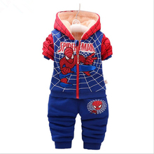 1-4T Baby Boys Clothing Sets Cotton Suit Spider Man Suit Winter Thicken Wool Sherpa Baby Sports Jacket Sweater Coat+Pant