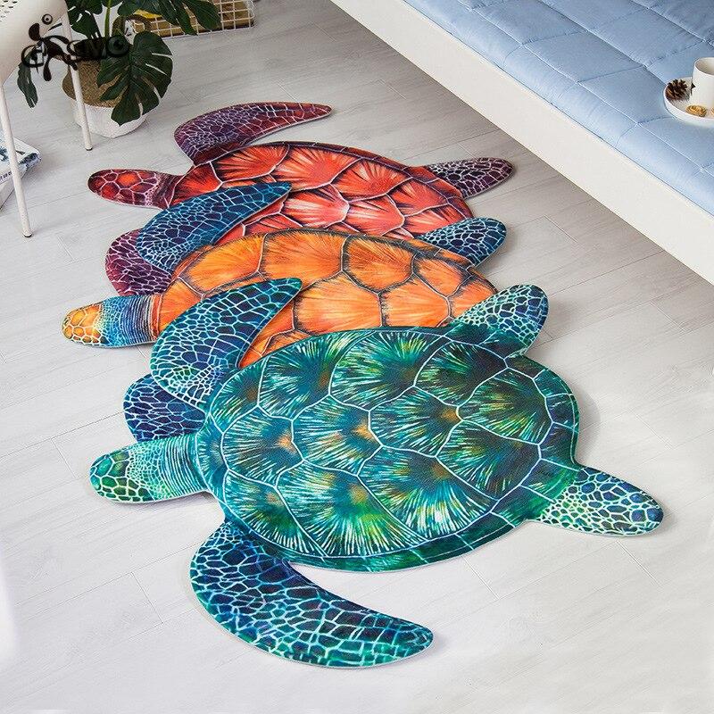 Tortue de mer Animal 3d anti-dérapant tapis pour salon literie chambre velours porte tapis enfants jouer tapis chaise tapis de sol zone tapis