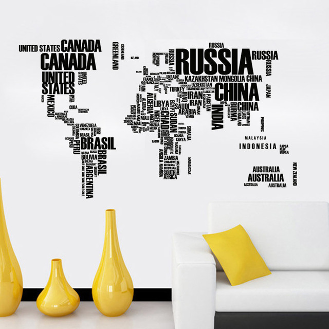 New Large World Map Wall Stickers Original Creative Letters Map Wall Art  Bedroom Home Decorations Wall