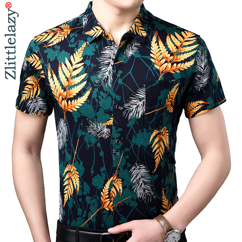 Professional Sale 2019 Brand Casual Pocket Hawaiian Floral Summer Short Sleeve Slim Fit Men Shirt Social Dress Shirts Mens Fashions Jersey 51537 Shirts