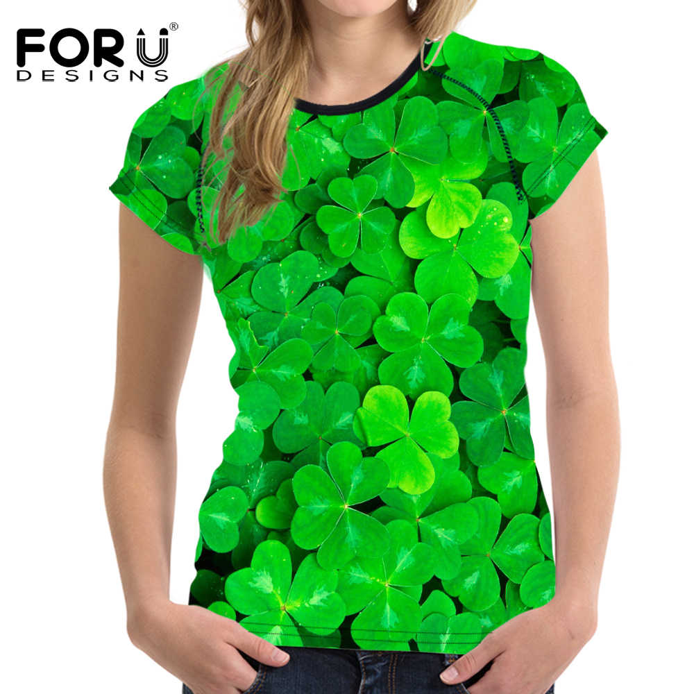 FORUDESIGNS T-shirt vrouwen Tops Tees Leisure Vrouwen T-shirts O-hals Clover Print Feminisme Casual T-shirts Vrouwelijke Kleding Feature