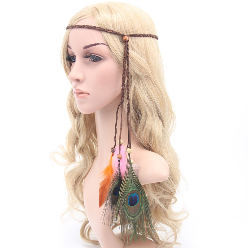 Women Elegant Hair Ribbons Flocking Hair Band Indian Style Peacock Tribal Feather Headband Knitted Rope With Beads Accessories