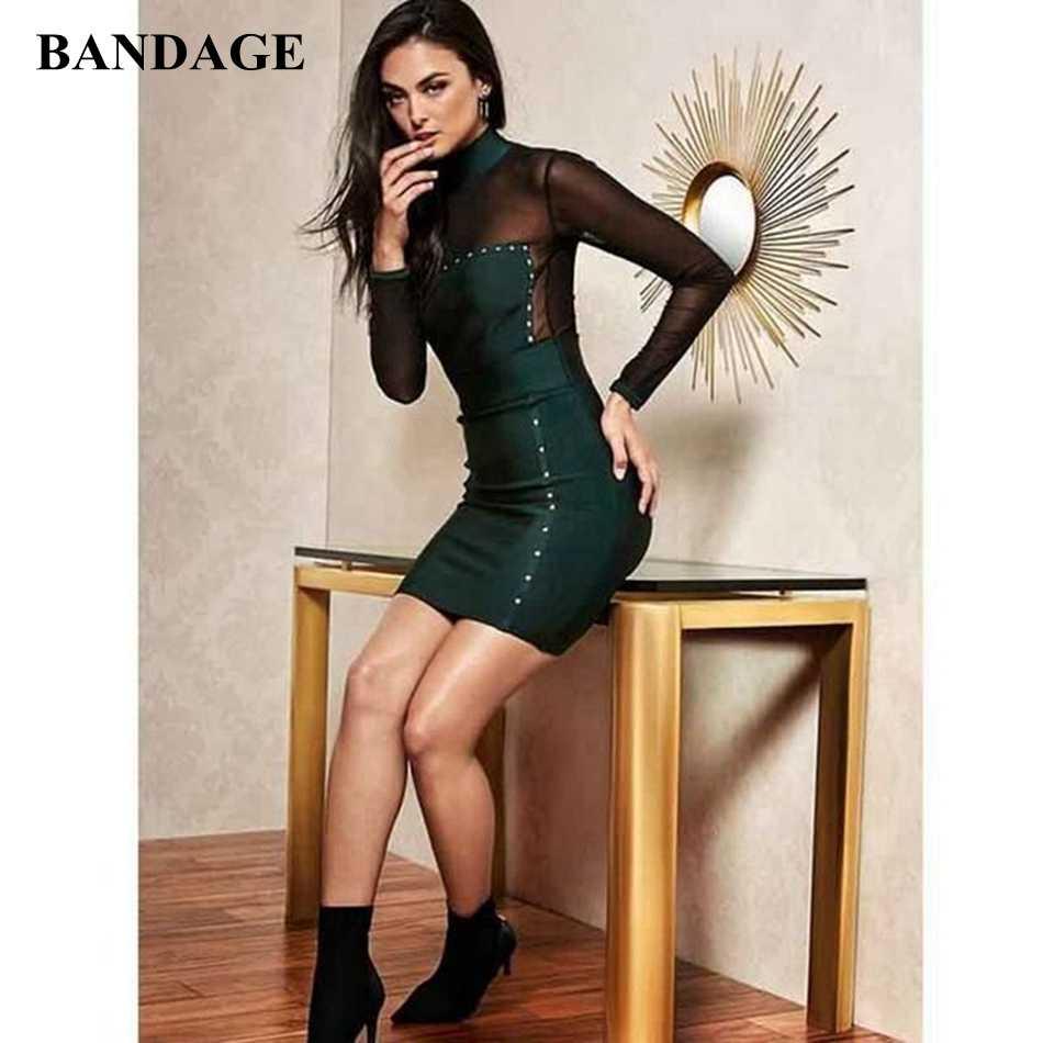 Новое поступление, зеленая, сетчатая повязки вечерние платье длинный рукав повседневные платья ночной клуб Повседневная обувь облегающее платье vestidos