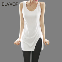 2018 Summer Sexy Low Cut Basic T Shirts Fashion Lady Tank Top Solid Comfortable Cotton Sleeveless