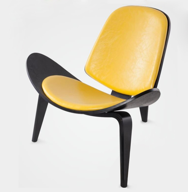 Hans Wegner Style Three Legged Shell Chair Ash Plywood Black Finish Leather  Seat Living Room