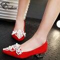 Zapatos de la boda Brillo Nupcial Magnífico Partido de Tarde Cristalinos Tacones med Zapatos de Las Mujeres elegantes Sexy Mujer Bombas tamaño grande 32-43