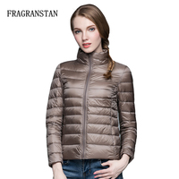 Ultra Light Design Winter Women 90 White Duck Down Jacket Solid Color Stand Collar Female Warm
