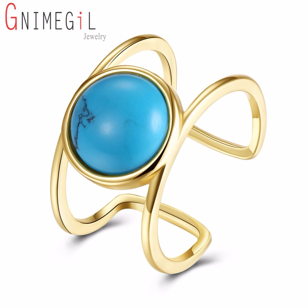 GNIMEGIL Vintage Big Round Green Stone Ring For Women Antique Gold Color Opening Rings Boho Jewelry Anillos