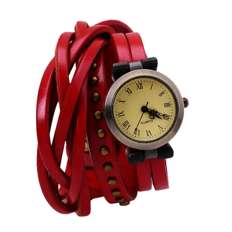 2016 Fashion Vintage Vogue Women Dial Layers Red & Black Leather Strap Bracelet Quartz Analog Ladies' Casual Party Wrist Watch fashion vintage big number magic leather strap quartz analog wristwatches watch for women ladies girls black brown blue