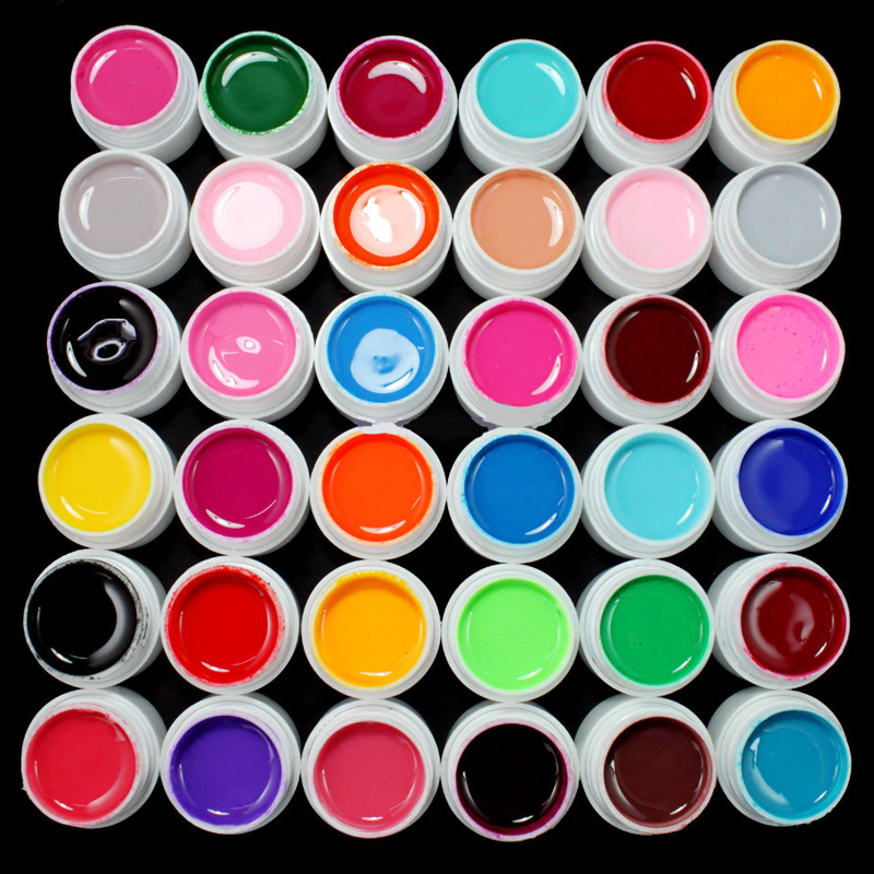Professionell 36 Krukor Pure Color Decor UV Gel Långvarig Målning Nagellack Gel Polska Manikyr Makeup Verktyg