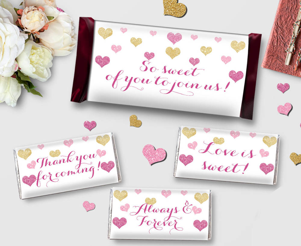 48 Personalized Candy Wrapper Supplies Wedding Chocolate Bar ...