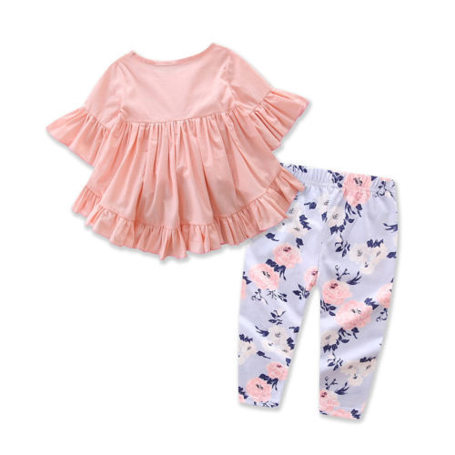 Baby Girl's Cotton Flare Sleeve Blouse and Floral Printed Pants