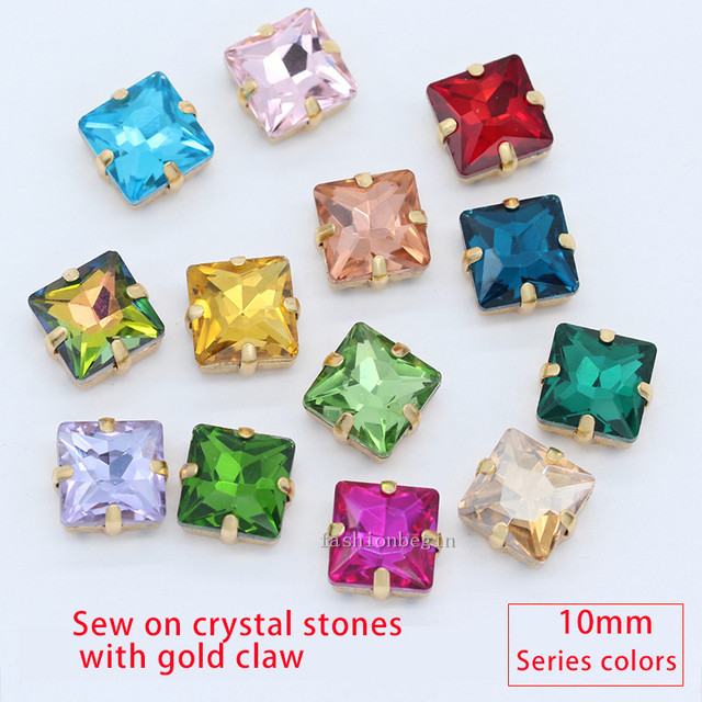 30p 10mm square color sew on crystal glass 4Holes claw rhinestones Montees gold  base craft Jewelry For Wedding Dress Clothes DIY 763dc8423045